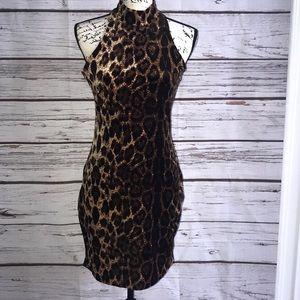 Velvet cheetah print dress